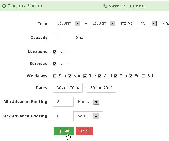 Edit Booking Timeslot