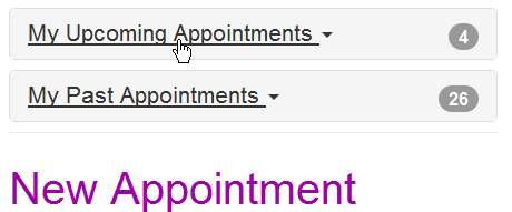 Quick links for appointment details