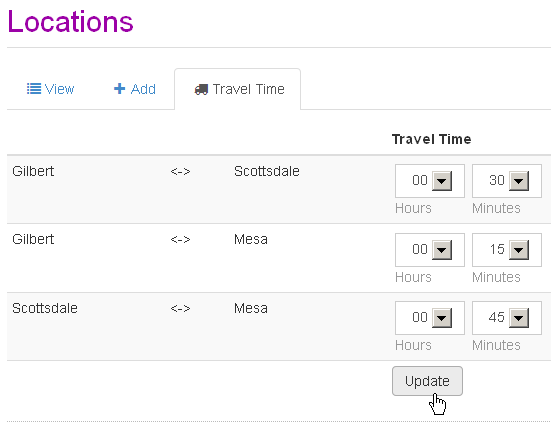Travel time between appointment locations