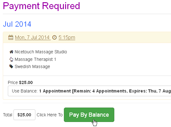 Customer pays for an appointment by balance