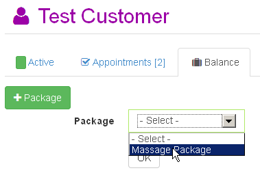 Administrator assigning package to a customer