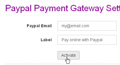 Paypal settings form